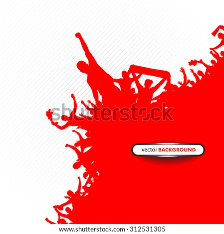 Poster of red fans - stock vector