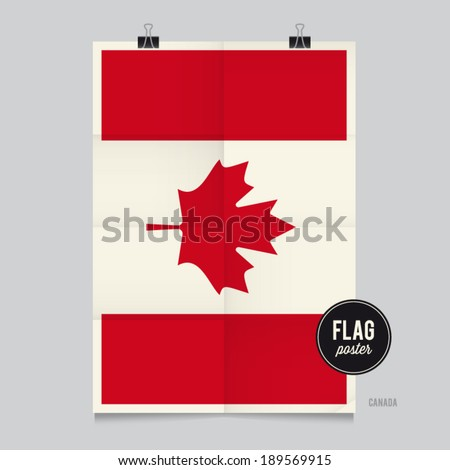 Poster of the Canada flag. Vintage folds and shadows effects are editable thanks to different layers. - stock vector