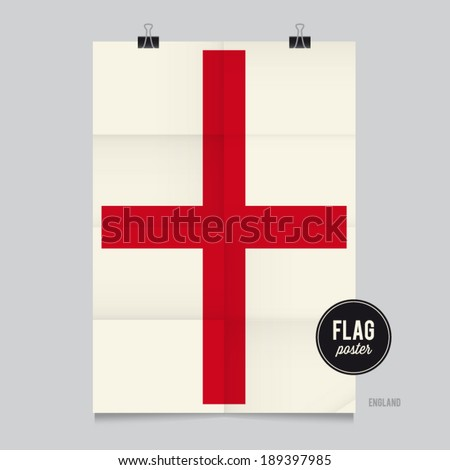 Poster of the England flag. Vintage folds and shadows effects are editable thanks to different layers. - stock vector