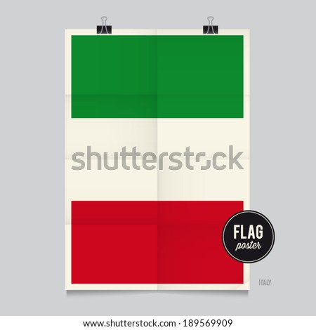Poster of the Italy flag. Vintage folds and shadows effects are editable thanks to different layers. - stock vector