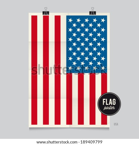 Poster of the United states of America flag. Vintage folds and shadows effects are editable thanks to different layers. - stock vector