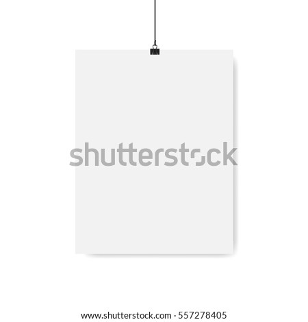 Poster on binder clips on grunge grey wall. Realistic vector illustration. Modern trendy interior. Empty mock up for your illustrations, drawings, logos, posters or quotes.