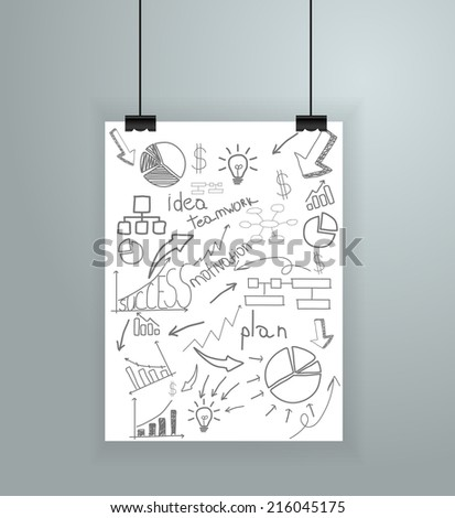 Poster on wall, Vector illustration template modern design - stock vector
