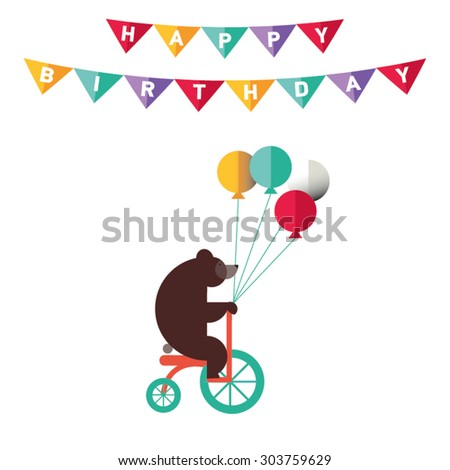 Poster or card for birthday. Decoration like ribbon, confetti, flag.  Bear with balloons on cicle. Greeting or invitation - stock vector