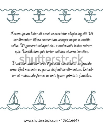 Poster or page design with sea borders made of nautical rope. Anchor and boat decorative summer border patterns. Decorative and simple rope brushes are included. - stock vector