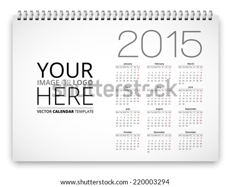 Poster Proportion Calendar Template 2015 Years Stock Vector Hd