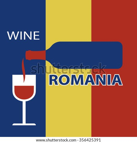 Poster Romania wine on the background of the flag. A bottle of wine with a wineglass - stock vector