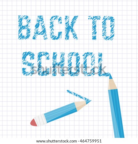 Poster school Educational back to school written on paper in a cage. Vector illustration