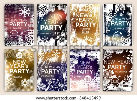 Poster Set for New Year's Eve Party Celebration - Grunge Stylized Snow with geometric snowflake design elements - stock vector