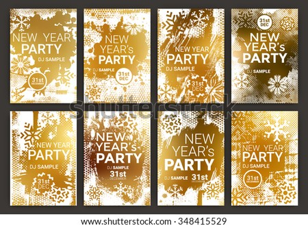 Poster Set for New Year's Eve Party Celebration - Grunge Stylized Snow with geometric snowflake design elements with golden background - stock vector