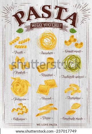 Poster set of pasta with different types of pasta: fusilli, spaghetti, gomiti rigati, farfalle, rigatoni, ravioli, tortiglioni, cellentani, penne, in retro style on a wooden background. Vector - stock vector