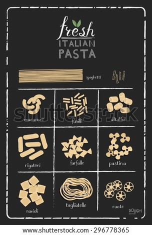 Poster set of pasta with different types of pastain retro style stylized drawing with chalk. Vector - stock vector
