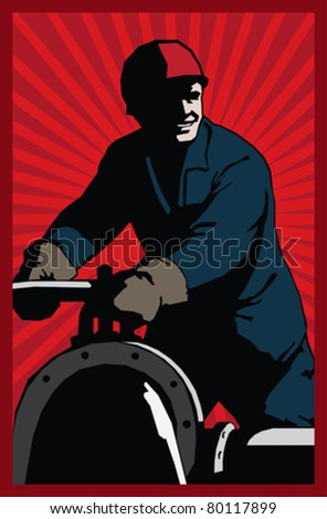 poster style oilman with red sunrise background - stock vector