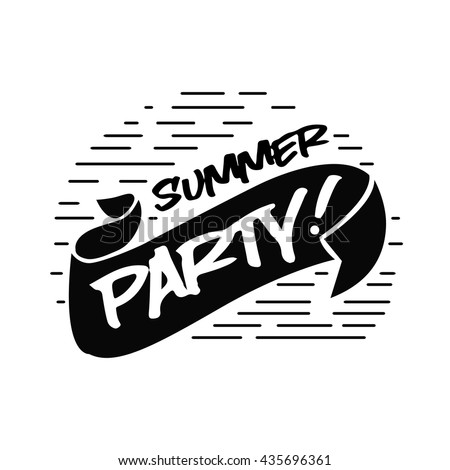 Poster summer party hand drawn lettering.vector illustration