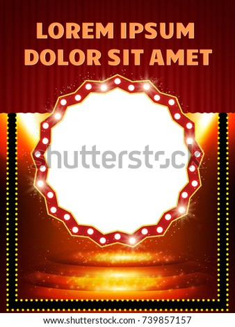 poster template banner podium curtain spotlights stock vector, Presentation templates