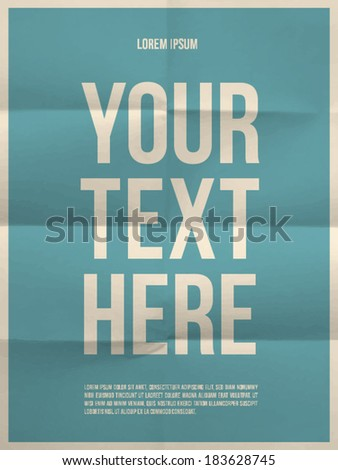 Poster template on colorful folded in eight paper texture with frame - vector EPS10 - stock vector