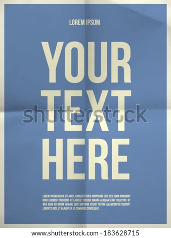 Poster template on colorful folded in four paper texture with frame - vector EPS10 - stock vector