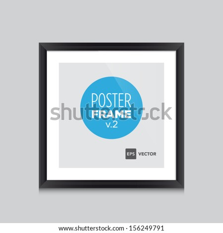 Poster template with black frame square vector design. Easy to edit with your picture. - stock vector