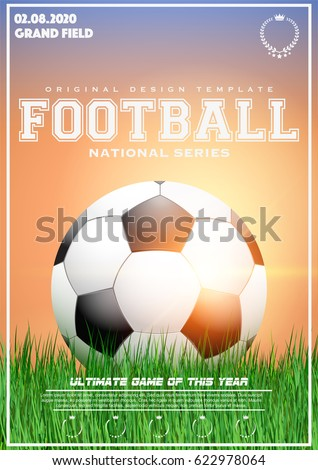 Poster Template With Football Tournament Soccer Ball On Grass At Sunset Cup And Trophy