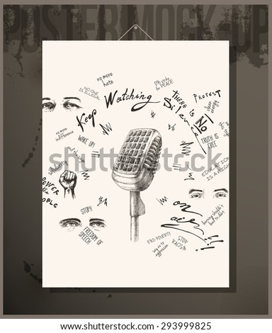 Poster - There is no silence - stock vector