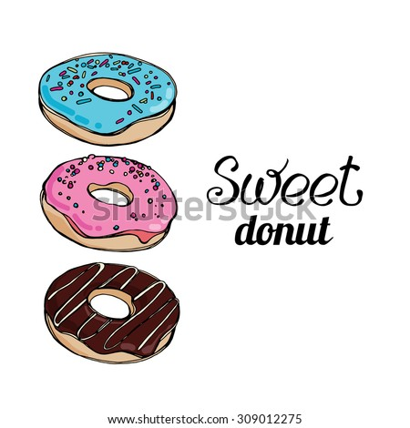 Poster vector template with donuts. Advertising for bakery shop or cafe. - stock vector