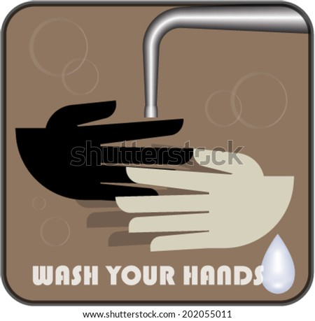 """Poster """"Wash your hands!"""" in retro style - stock vector"""