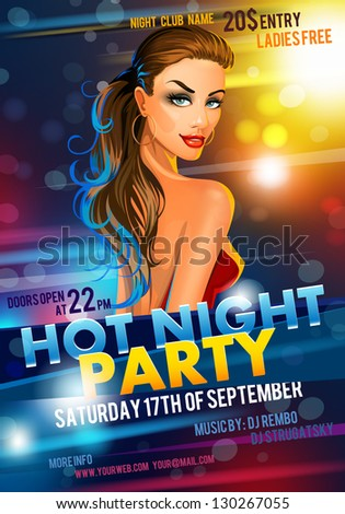 Poster with a hot girl. vector - stock vector