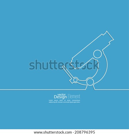 Poster with a microscope of a thin ribbon. Scientific research and lab bioprospecting microbes. for the magazine,  book cover,  research annual report, web design - stock vector