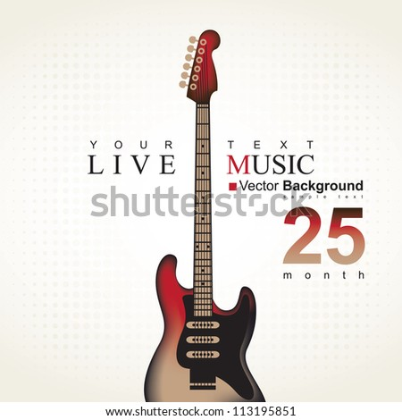 poster with an electric guitar - stock vector
