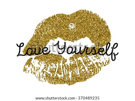 Poster with gold glitter lips prints on white background. - stock vector