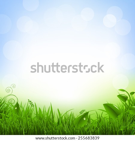 Poster With Grass And Flowers With Gradient Mesh, Vector Illustration - stock vector