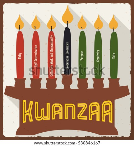 Poster lighted marked candles placed on stock vector royalty free poster with lighted and marked candles placed on a kinara with each principle for kwanzaa celebration m4hsunfo
