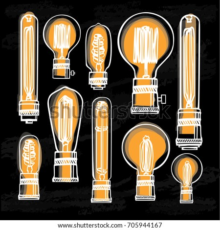 poster modern edison loft lamps vintage stock vector 705944167