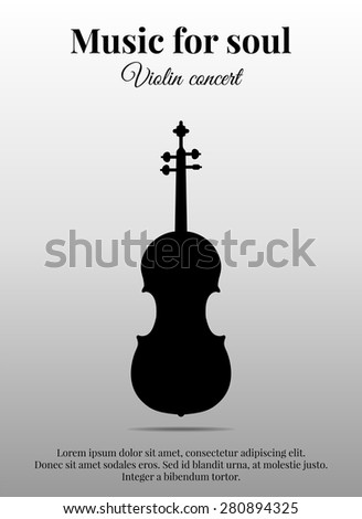 Poster with music instrument violin. Black silhouette. Vector illustration - stock vector