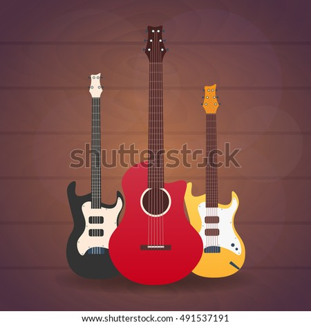 Poster with musical instruments. Music studio. Guitar. Flat design