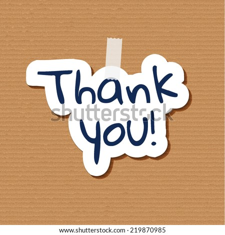 poster with paper cut thank you text on cardboard background - stock vector