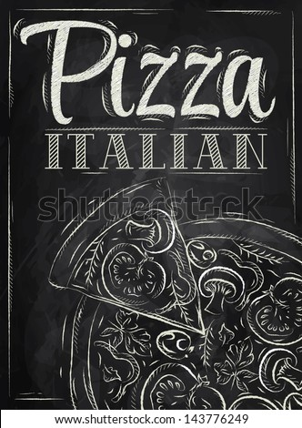 Poster with pizza and a slice of pizza with the inscription Italian pizza stylized drawing with chalk on the blackboard - stock vector