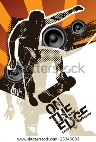 Poster with skateboarder. Vector illustration. - stock vector