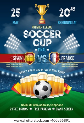 Poster with Soccer Ball and Beer on Stadium. Soccer Cup Advertising. Sport Event Announcement. Place Your Text and Emblem of Participants. Vector Illustration.  - stock vector