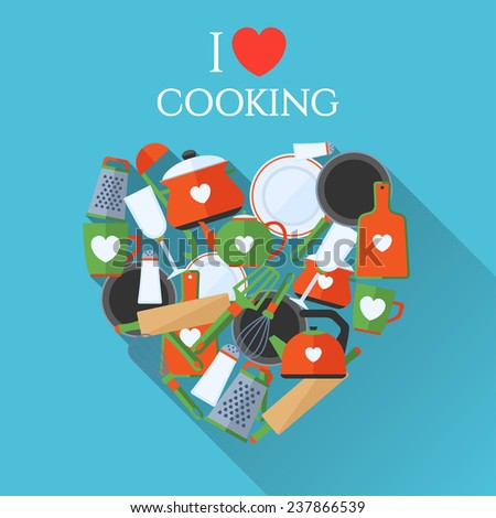 Poster with text I love cooking.  Made in flat design