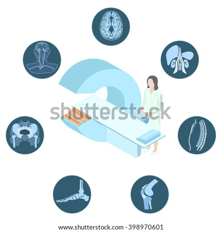 Poster with the medical concept of magnetic resonance imaging examination. Doctor stand near the MRI imager. Around there are images of the human body. - stock vector