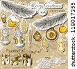 Poster with vintage Christmas decorations . Vector illustration EPS10 - stock
