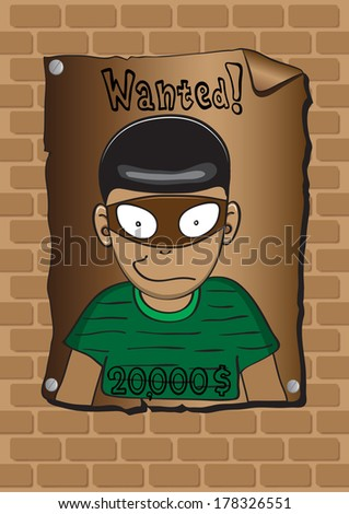 Posters of a wanted bandit - stock vector