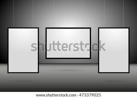 Posters template. Blank papers hanging on a dark background.