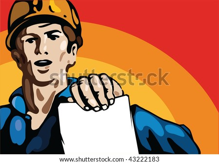 Posters with working people. hands With instructions. - stock vector