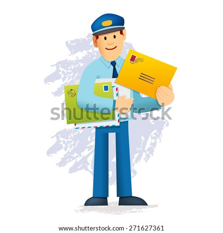 Postman carrying mail - stock vector