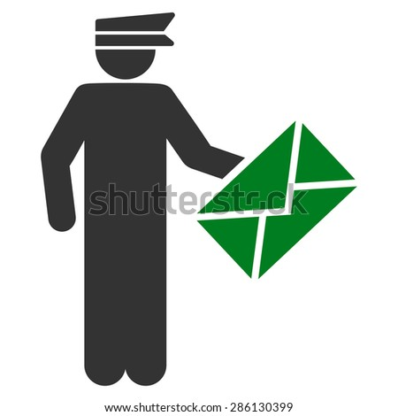 Postman icon from Business Bicolor Set. This flat vector symbol uses green and gray colors, rounded angles, and isolated on a white background. - stock vector