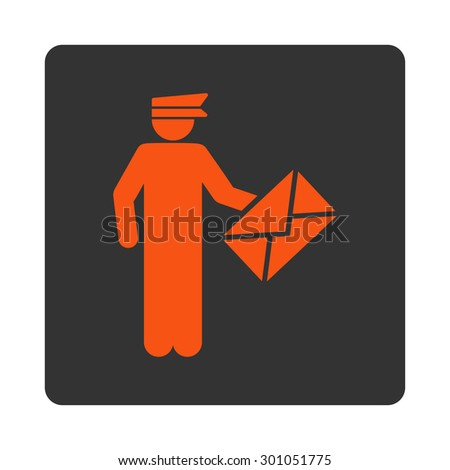 Postman icon. This flat rounded square button uses orange and gray colors and isolated on a white background. - stock vector