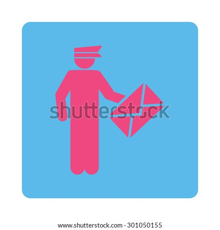 Postman icon. This flat rounded square button uses pink and blue colors and isolated on a white background. - stock vector