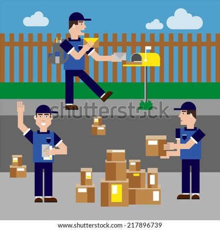 Postman in three different working positions. - stock vector